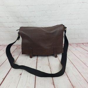 Fossil leather large messenger laptop bag